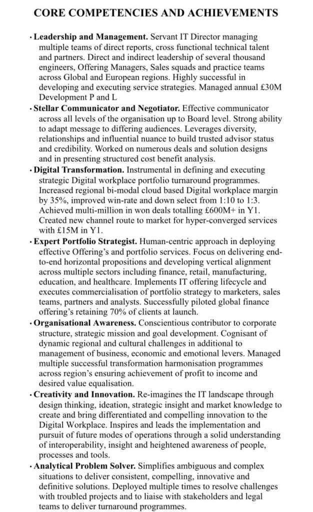 Resume Paper Core Competencies And Achievements On Resume / Cv - #