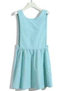 Pinstripe Blue Backless Ruffle Dress