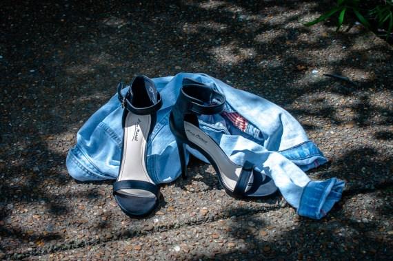 Black Strappy Heels-$19 (originally $28), Charlotte Russe. Zara TRF Denim Jacket-$34, Poshmark.