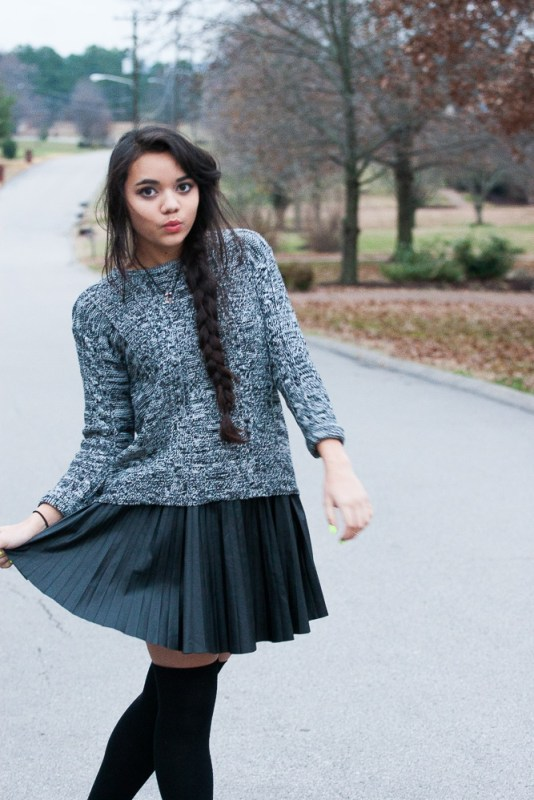 Speckled Knit Sweater-$16, Forever21. Pleated Pleather Skirt-$10, Poshmark. Thigh High Socks-$?, (you can get them anywhere), Deena&Ozzy Platform Oxfords-$19, Urban Outfitters.