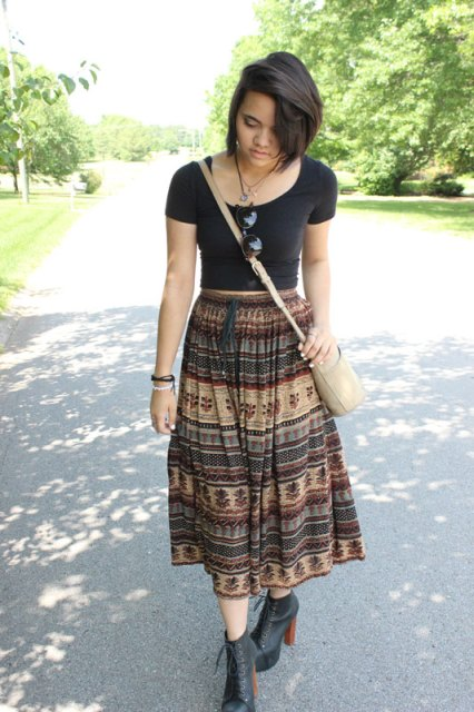 Crop Top--F21. Skirt--Thrifted. Vintage Coach Bag--Gifted. Sunnies--Dollywood. JC Litas--Poshmark.