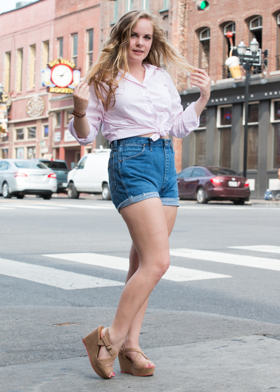Shirt, shorts, and shoes--thrifted. Shoes--F21.