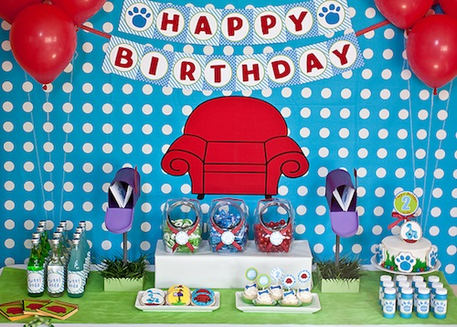 Blues Clues Themed Birthday Party - blue and green birthday party