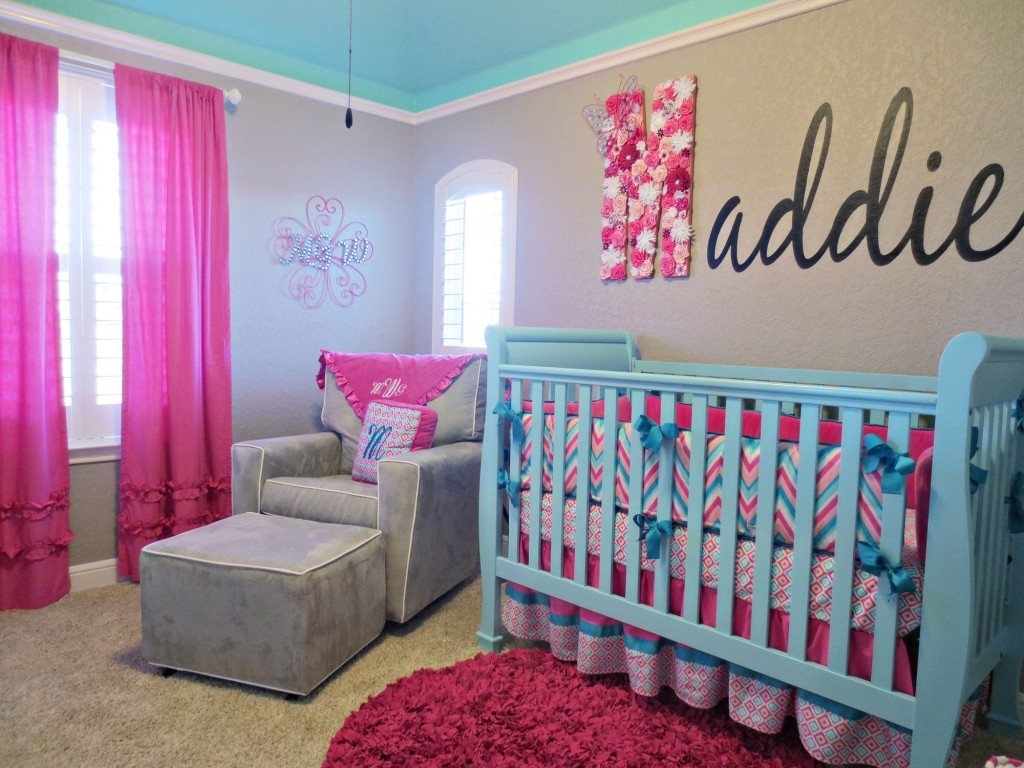 Pink And White Nursery Ideas Maddie 39s Pink Aqua And Gray Chevron Nursery Project