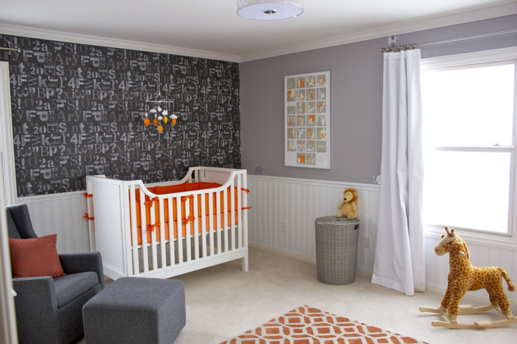 Pinterest Girls Kids Rooms With Wood Wallpaper Readers Favorite Orange Gray And White Nursery