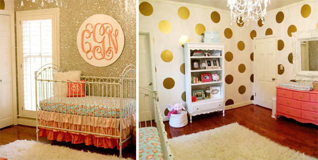 coral and gold glitter nursery