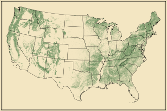 Range of Land Cover for Forests