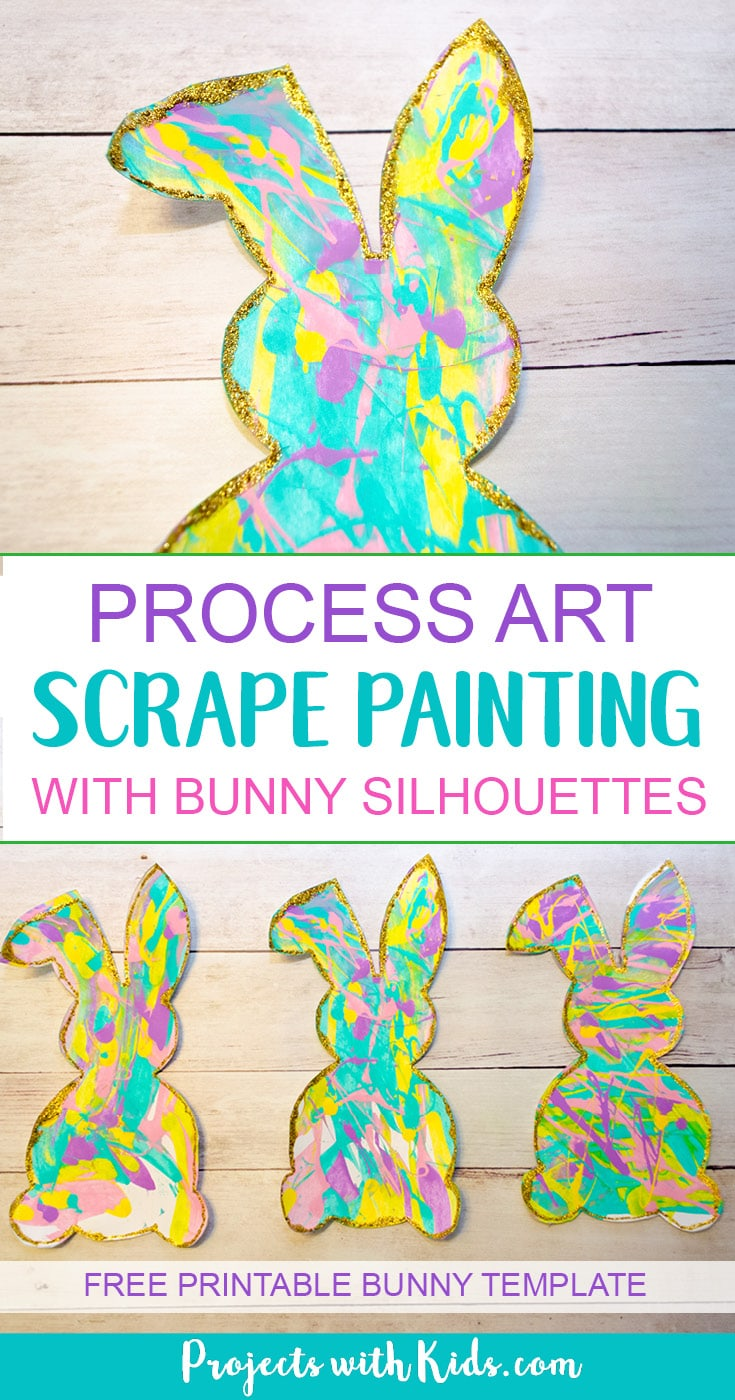 Process Art Scrape Painting With Bunny Silhouettes Projects With Kids