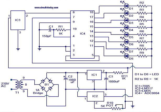 lm35 temperature sensor schematic diagram