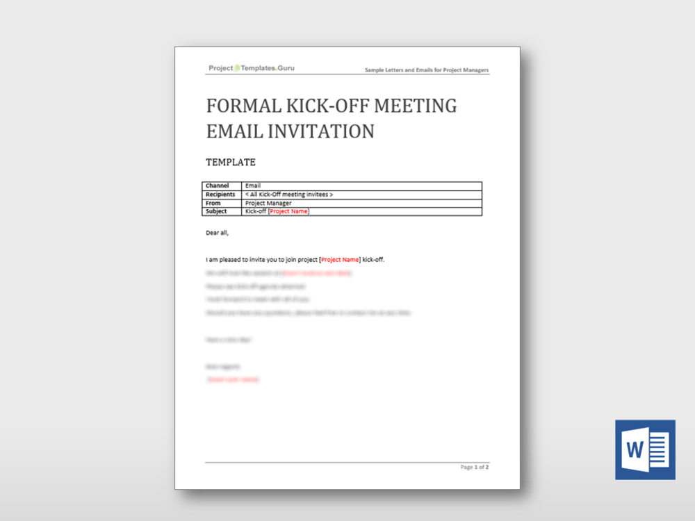 Formal Invitation Sample Email Formal Kick-off Meeting Email Invitation