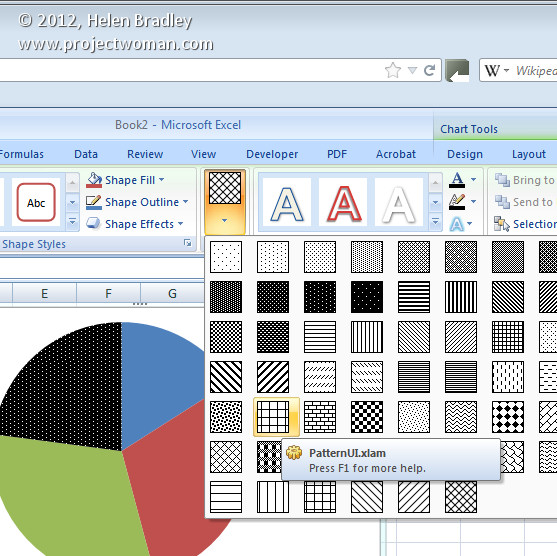 Pattern fills for your Excel 2007 charts « projectwoman