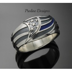 Small Crop Of Thin Blue Line Ring