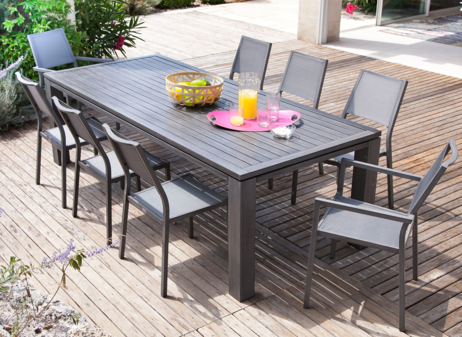 Ensemble Table Et Chaise De Jardin Aluminium Table Fiero 240x100cm Meuble De Jardin Design Proloisirs