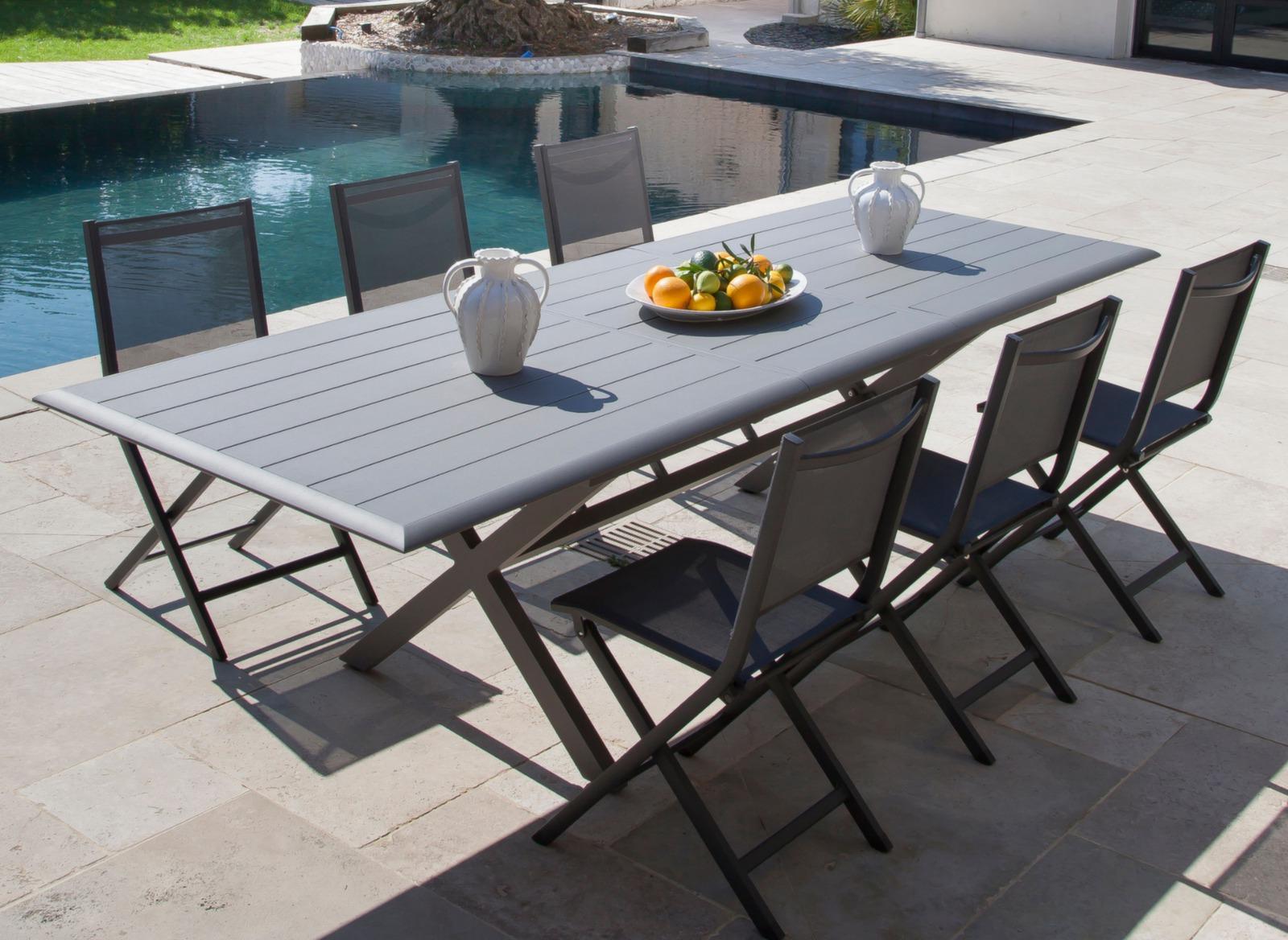 Table Proloisirs | Table De Jardin Aluminium Ice Gris 100 Images ...
