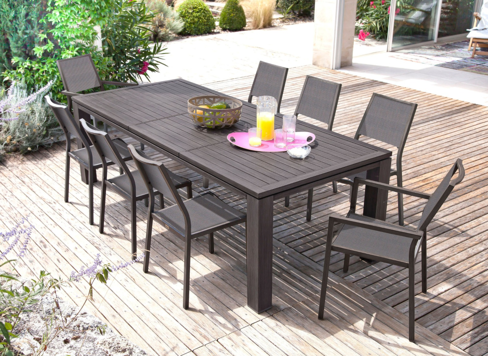 Table Jardin Housse Protection Pour Table 220x110 Polyester Pvc Gris