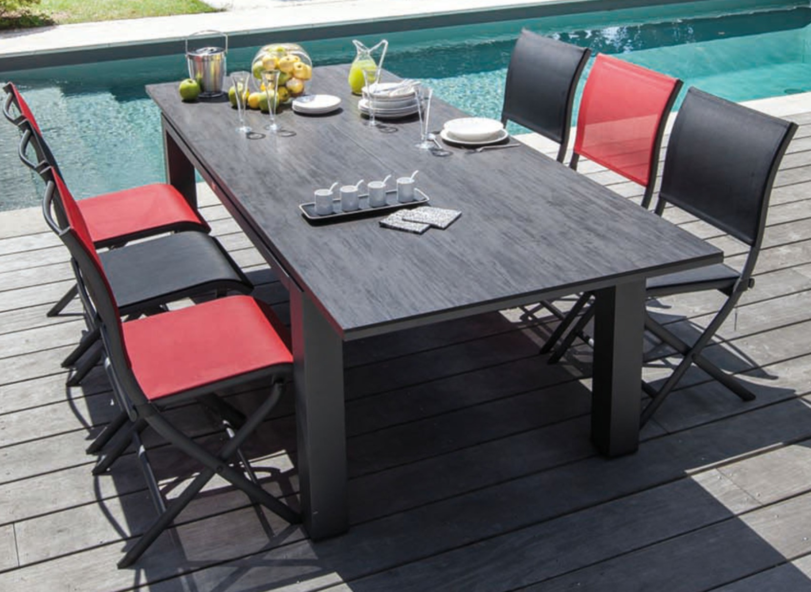 Table Jardin Housse Protection Pour Table 180x100 Polyester Pvc Gris
