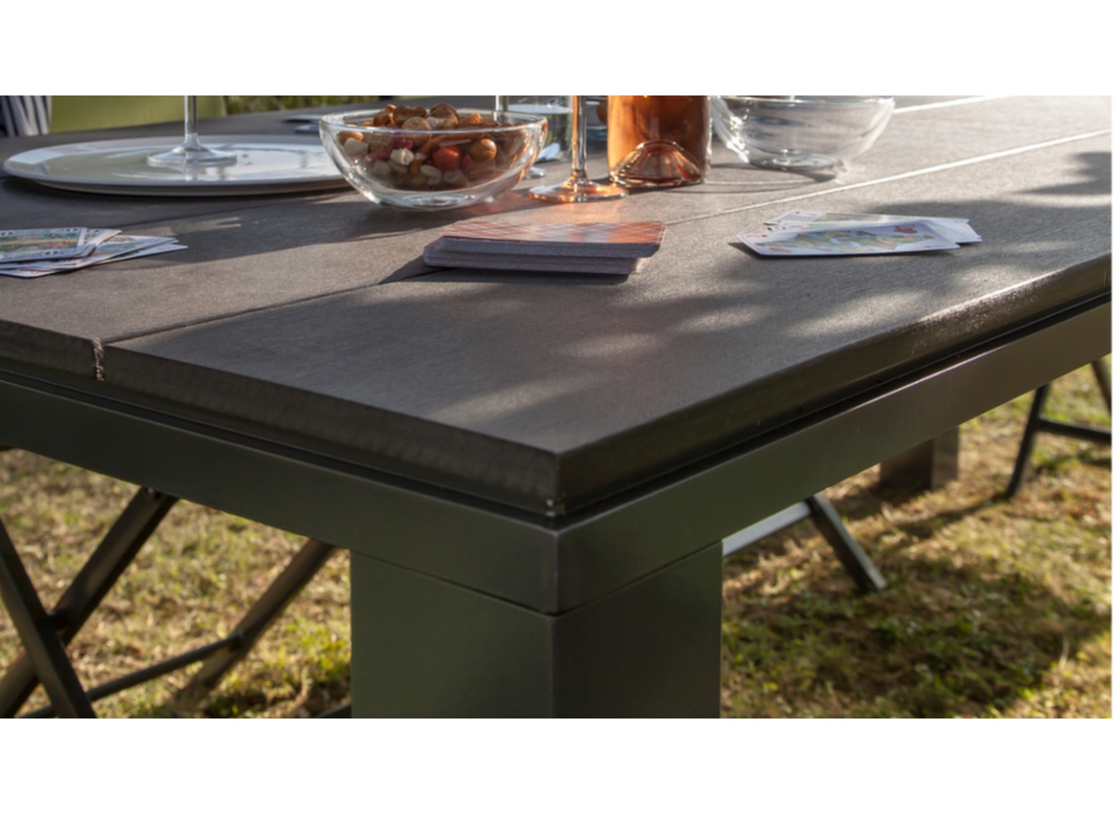 Table 180 Cm Table Alizé 180 Cm Aluminium Polywood Coloris Grey Black