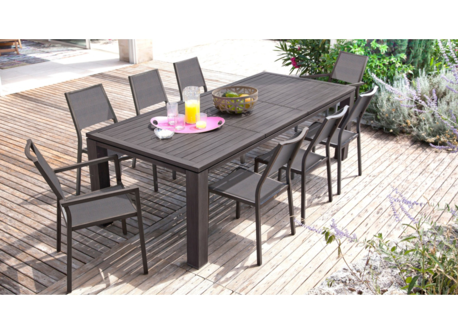 Salon De Jardin Pro Loisir Grande Table De Jardin Rectangle Fiero Proloisirs