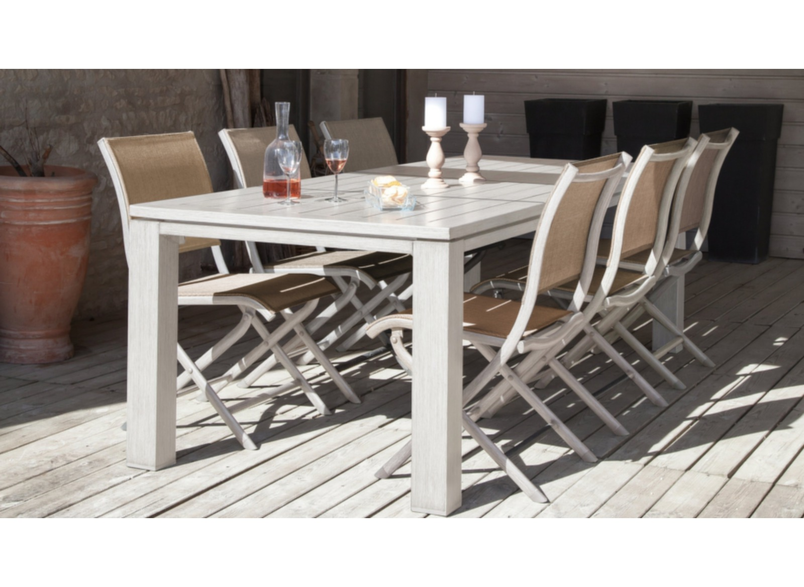 Table 180 Cm Table De Jardin Design Beige Fiero 180cm Proloisirs