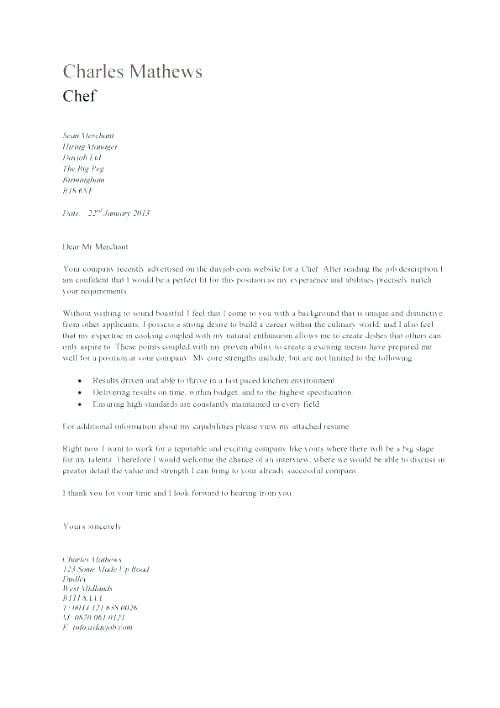 culinary cover letter examples \u2013 promisedesign - great cover letters