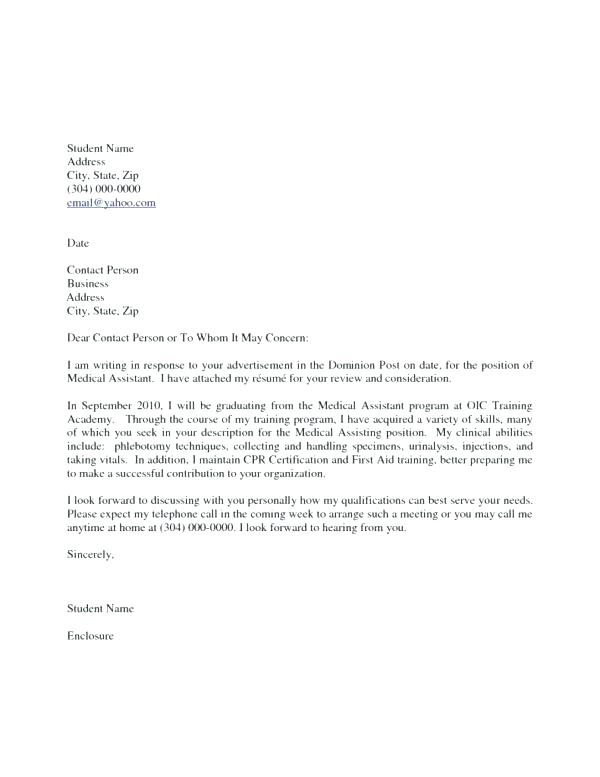 Medical Assistant Cover Letter Sample Cover Letter For Medical - Medical Assistant Cover Letter Samples