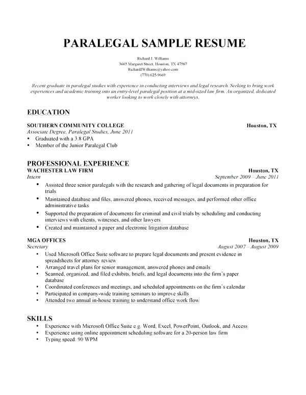 Paralegal Resume Objective Statement Examples Administrative