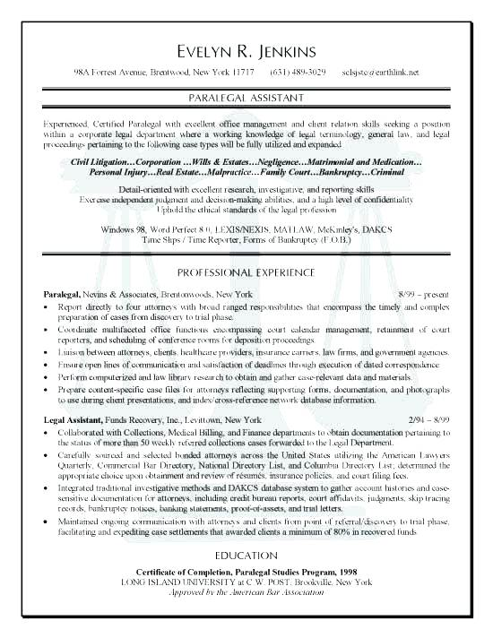 paralegal resume objective examples \u2013 promisedesign