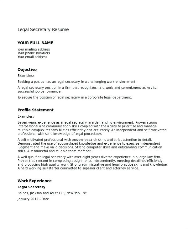 resume examples secretary \u2013 promisedesign - sample legal assistant resume