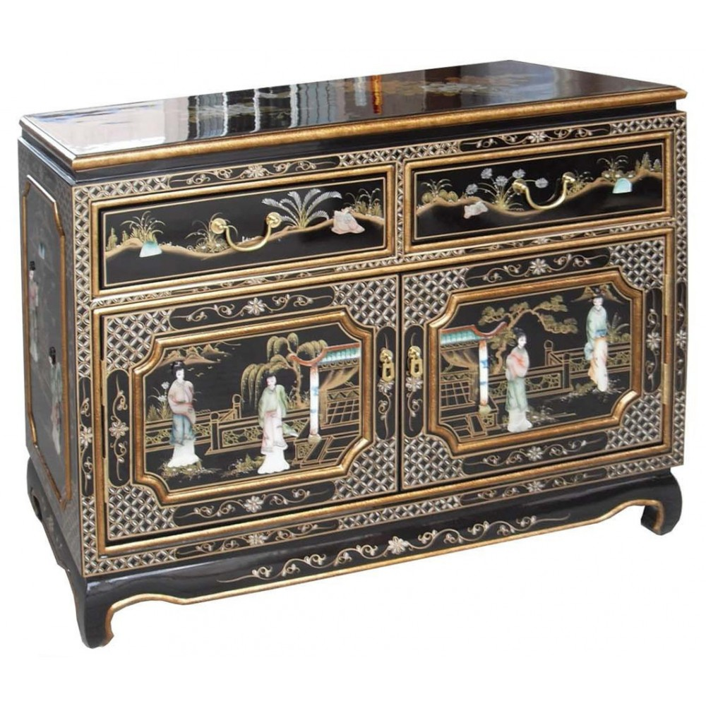Buffets Chinois Petit Buffet Chinois Laque Noire Meubles Chinois Laqués