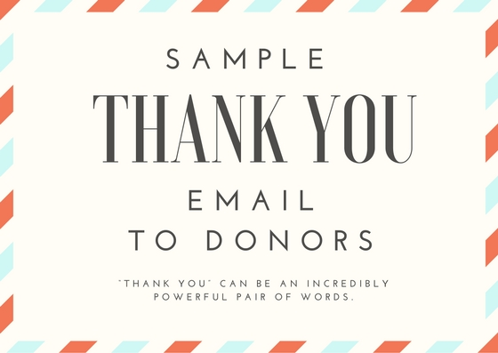 Sample Thank You Email to Donors - proposalsforNGOs