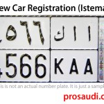 A Sample Vehicle Number Plate of Saudi Arabia