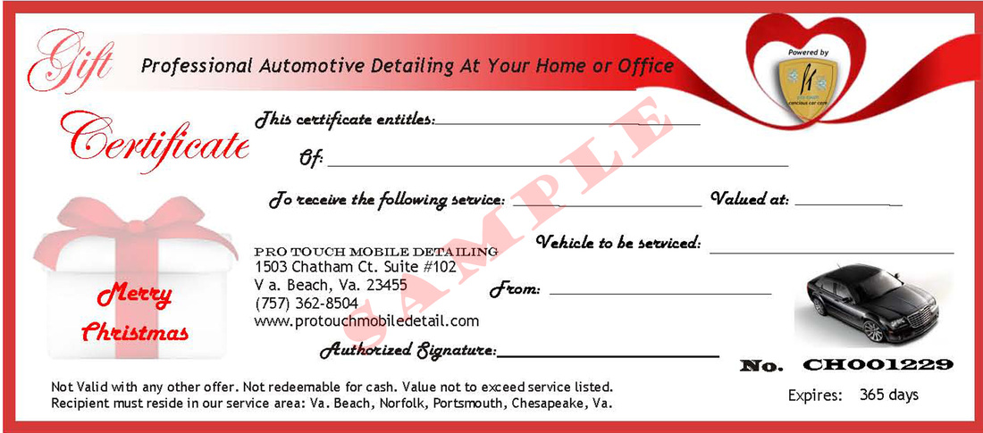Pro Touch Mobile Detailing Gift Certificates - Pro Touch Mobile