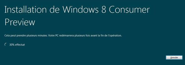 Capture d'écran - Installation en cours de Windows 8 Consumer Preview