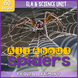 A spider post includes a ton of activities - science, non-writing writing, life cycle, and art project to entertain students in their learning about spiders!