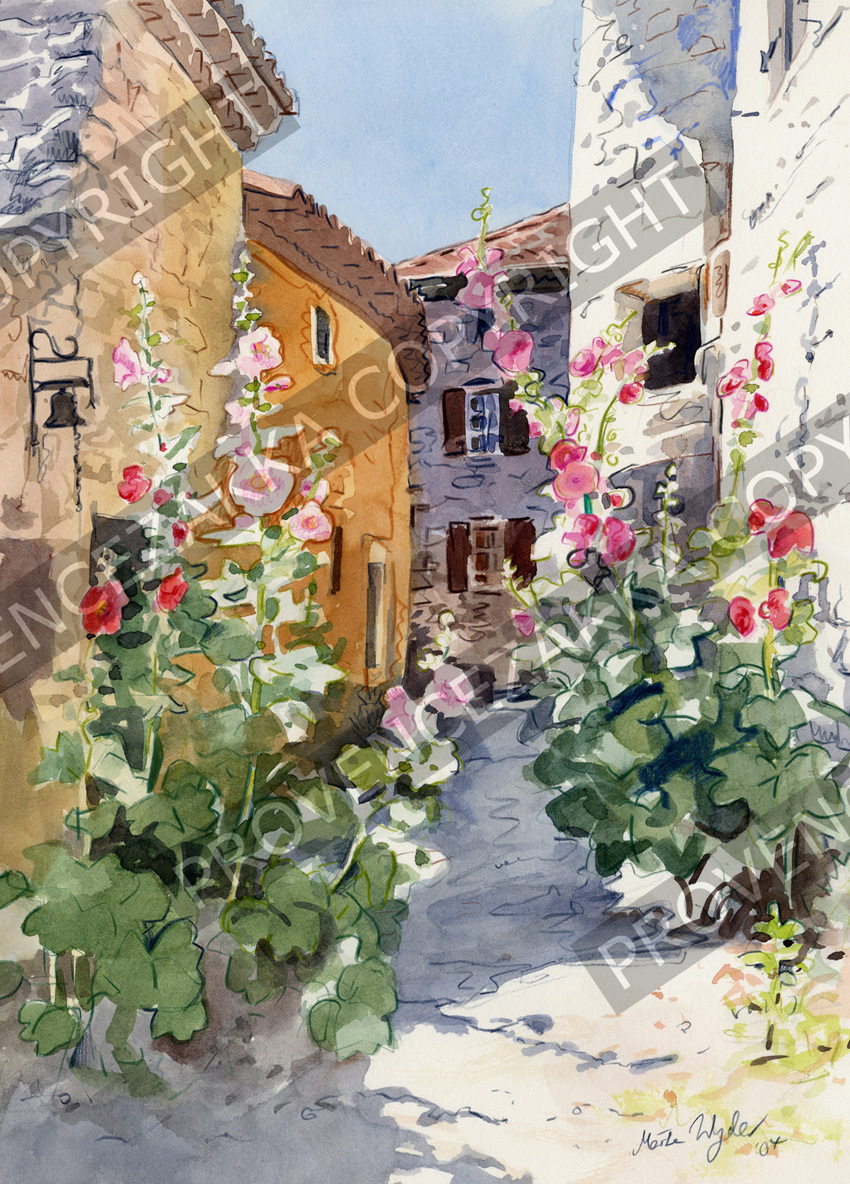 Provence Decoration Nice Jesus Street Water Color Painting Signed Print Provence