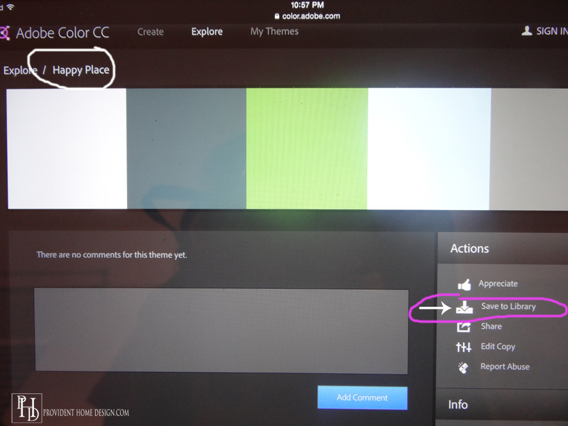 Choosing Color Palettes with Adobe Color CC App - home decor color palettes