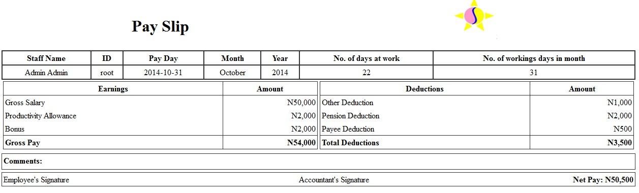 ProSkool School Management Solution - monthly pay slip