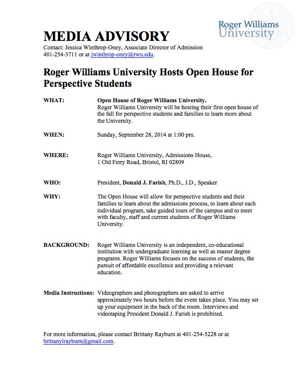 Media Advisory RWU Event Public Relations Tech Final Portfolio