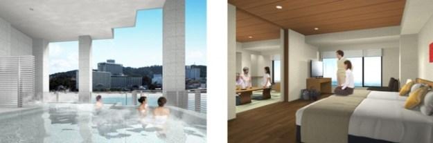 2階露天風呂 眺望の湯「潮風」(イメージ)       コネクティングルームAタイプ(和室+洋室・イメージ)