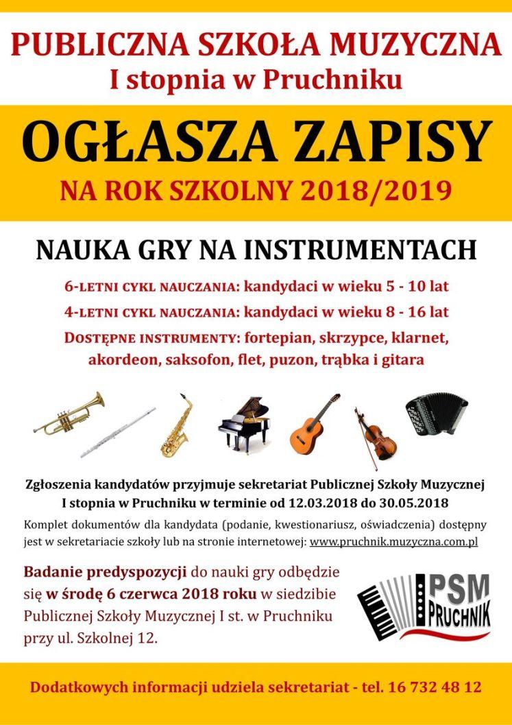 Plakat zapisy Pruchnik PSM 2018