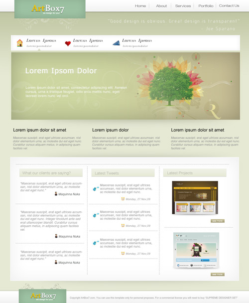 Create a clean psd layout using Complete Designer Set from ArtBox7.com