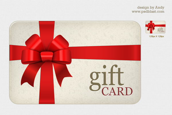 High resolution Gift card PSD Psdblast