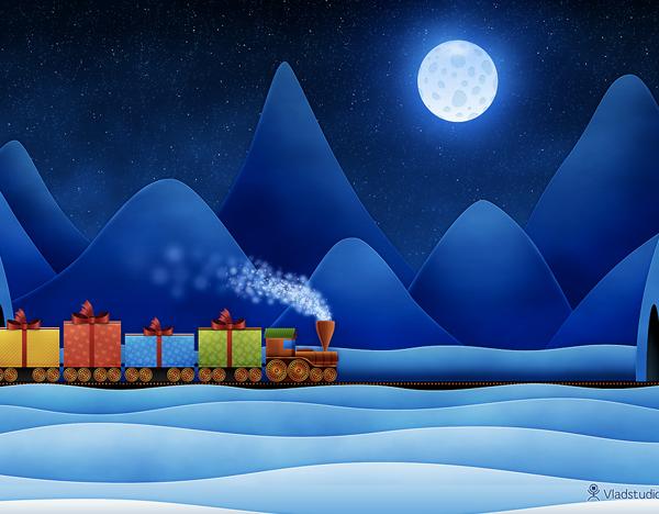 Christmas Train by Vladstudio