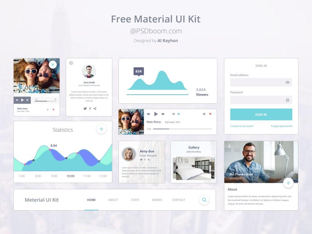 material design free ui kit psd download