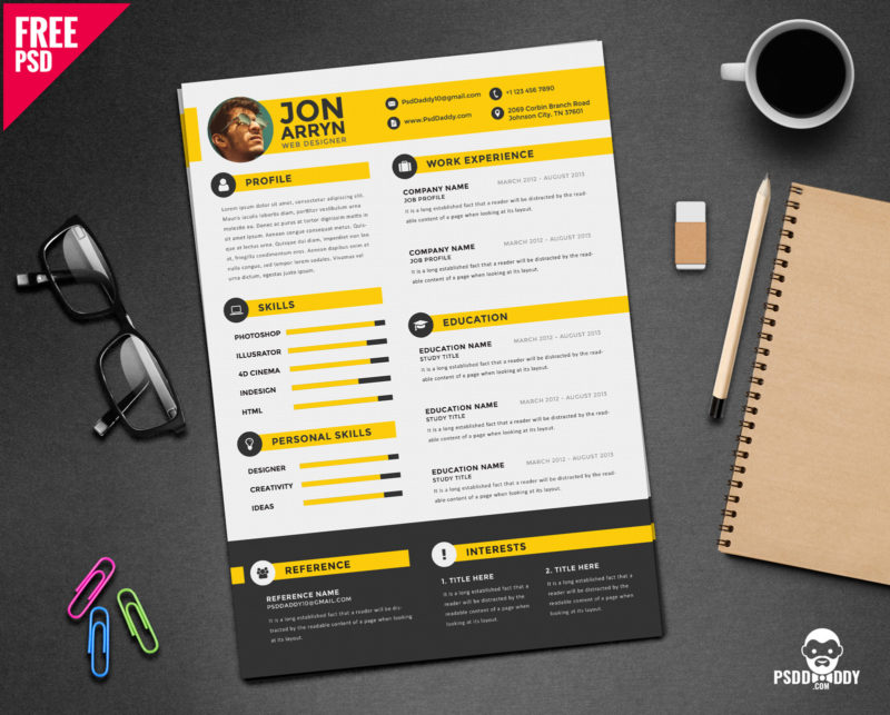 Download Creative Resume Template Free PSD PsdDaddy