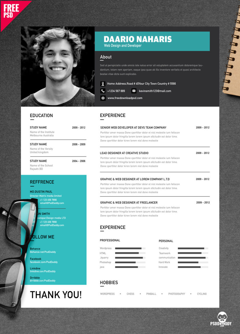 cv design psd download