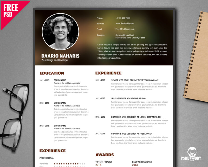 Free Creative Resume Template PSD PsdDaddy - creative resume format