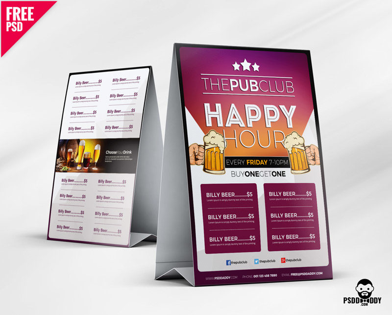 Download Beer Cafe Tent Card Free PSD PsdDaddy - catering menu template free