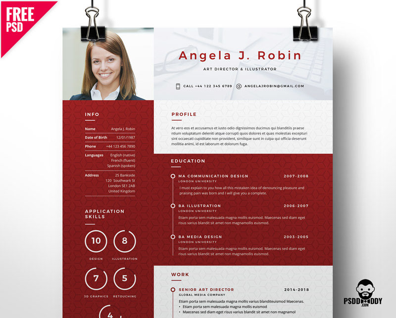 Professional Free Resume Template PSD PsdDaddy