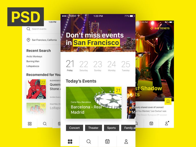 Free iOS Event  Ticket Sales Mobile App Template - PSDDD
